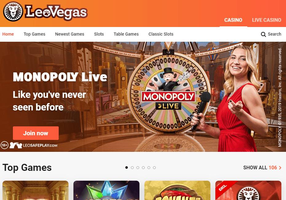 LeoVegas Casino site