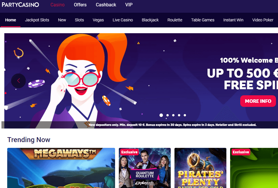 Party Casino Website Review